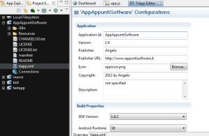 Viene aperto il file tiapp.xml nell'Editor